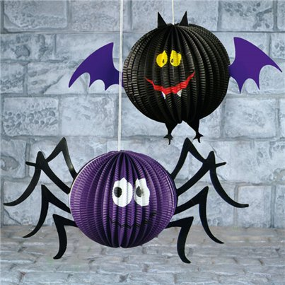 Hanging Spider or Bat Honeycomb Decoration - 18cm