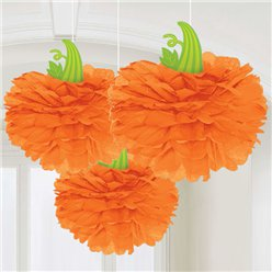 Halloween Pumpkin Pom Pom Decorations - 40cm