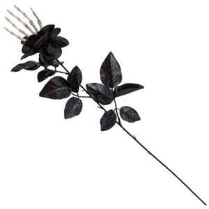 Black Rose with Skeleton Hand - 55cm