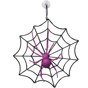 Halloween Glitter Spider and Web Decoration - 28.5cm
