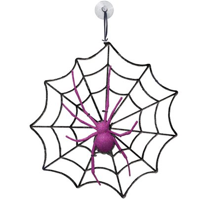 Glitter Spider and Web - 28.5cm