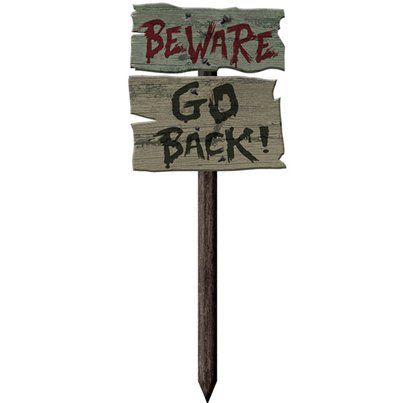 Haunted House 'Beware! Go Back!' Sign - 54cm