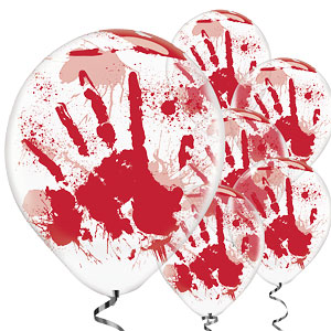 "Bloody Hand Printed Balloons - 11"" Latex"