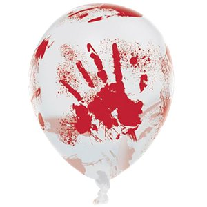 Bloody Hand Printed Balloons - 11'' Latex