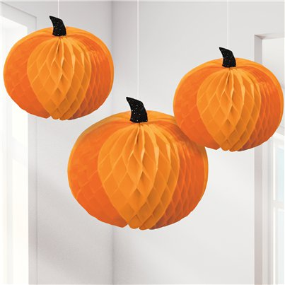 Pumpkin Honeycomb Hanging Decorations