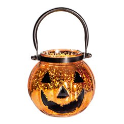 Glass Pumpkin Pail with Lights (19cm)