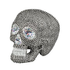 Sparkly Silver Skull Table Decoration (19cm)