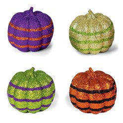 Set of 4 Glitter Pumpkins - 10cm
