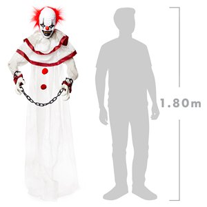 Animated Hanging Clown - 1.8m Movement, Light & Sound