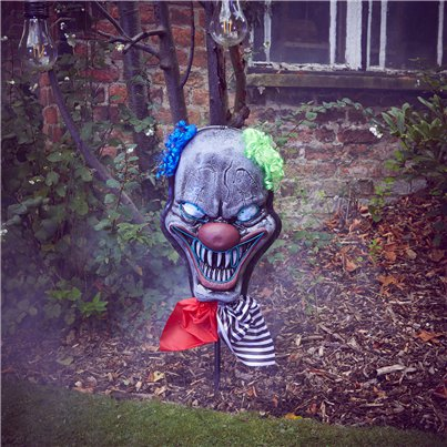 Lights Up Clown Head Stake - 83cm