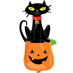 "Black Cat on Pumpkin Balloon - 41"" Foil"