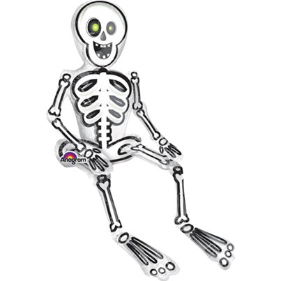 "Sitting Skeleton - 26"" Foil Balloon"