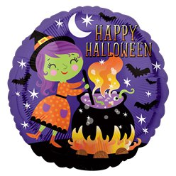 "Witch & Cauldron Foil Balloon -18"" Foil"