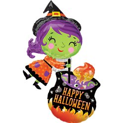 "Witch & Cauldron SuperShape Balloon - 25"" x 28"" Foil"