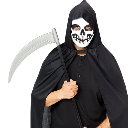 Grim Reaper Accessory Kit - Mask, Scythe, Cape - Halloween Fancy Dress Costume front
