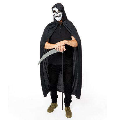 Grim Reaper Accessory Kit - Mask, Scythe, Cape - Halloween Fancy Dress Costume left