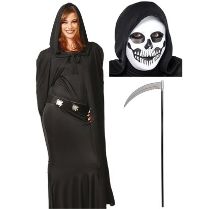 Grim Reaper Accessory Kit - Mask, Scythe, Cape - Halloween Fancy Dress Costume pla