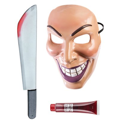 Evil Grin Purge Accessory Kit - Mask, Machete, Fake Blood - Halloween Fancy Dress Costume pla