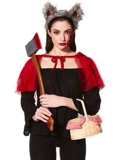 Red Riding Wolf Accessory Kit - Cape, Headband & Scar