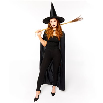 Witch Accessory Kit - Hat, Broom, Cape - Halloween Fancy Dress Costume front