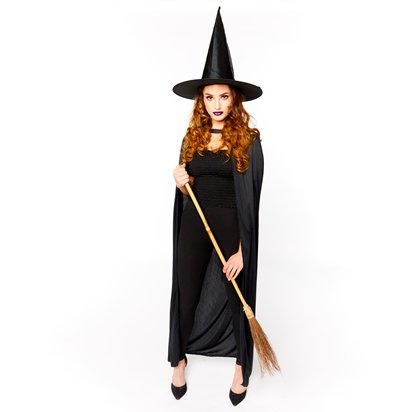 Witch Accessory Kit - Hat, Broom, Cape - Halloween Fancy Dress Costume left