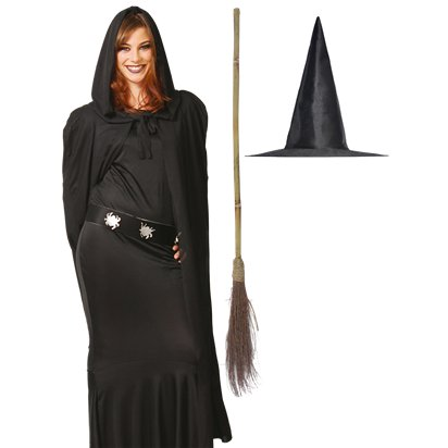 Witch Accessory Kit - Hat, Broom, Cape - Halloween Fancy Dress Costume pla