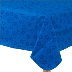 Hanukkah Flannel Backed Vinyl Tablecover -1.3m x 2.3m
