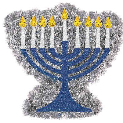 Hanukkah Mini Tinsel Menorah - 13cm