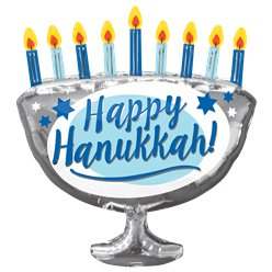 "Happy Hanukkah Menorah Balloon - 26"" Foil"