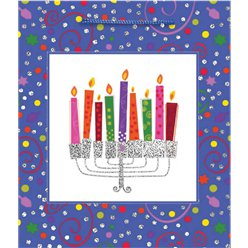 Hanukkah Menorah Medium Glitter Gift Bag