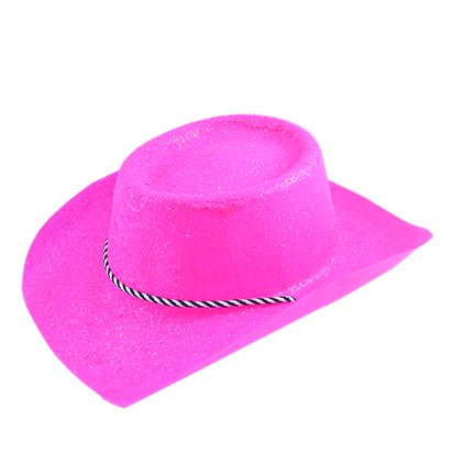 Neon Pink Glitter Cowboy Hat   - Hen Party Accessories front