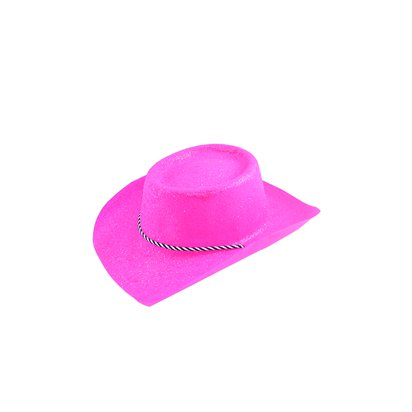 Neon Pink Glitter Cowboy Hat   - Hen Party Accessories pla
