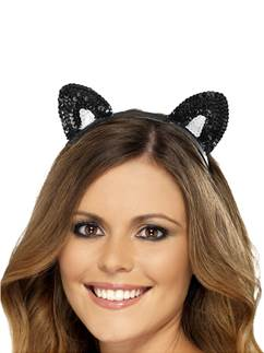 Sequin Cat Ears - Black