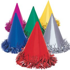 Foil Fringed Cone Party Hats