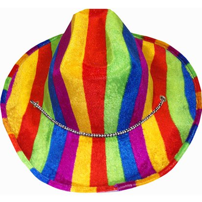 Rainbow Cowboy Hat - Adult Gay Pride Fancy Dress Costume Accessories front