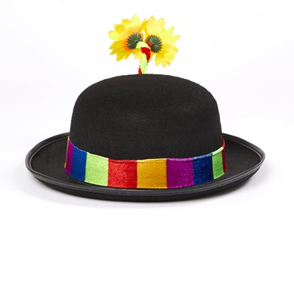 Clown Bowler Hat - Circus Fancy Dress Costume Accessories back