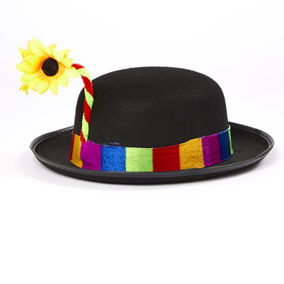 Clown Bowler Hat - Circus Fancy Dress Costume Accessories left