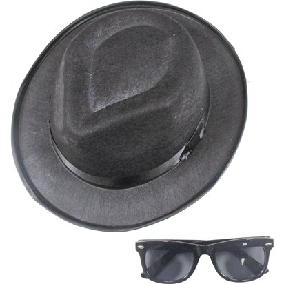Blues Brothers Hat & Glasses - Fedora Hats - Men's Blues Brothers Fancy Dress Costume Accessories front