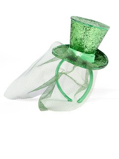 Mini Green Glitter Top Hat - 11cm