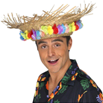Beach Hat With Lei Trim - Hawaiian Accessories