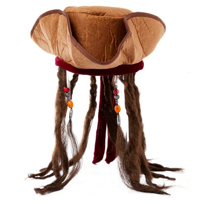 Jack Sparrow Pirate Hat with Hair - Men's Pirate Tricorn Fancy Dress Costume Accessories front