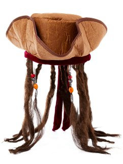 Pirate Hat with Attached Dreadlocks