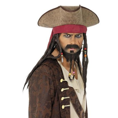Jack Sparrow Pirate Hat with Hair - Men's Pirate Tricorn Fancy Dress Costume Accessories left