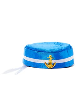 Pill Box Sailor Hat - Blue & White