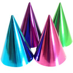 Jewel Tone Metallic Cone Party Hats - 17cm