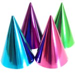 Pink & Teal Metallic Cone Party Hats - 17cm