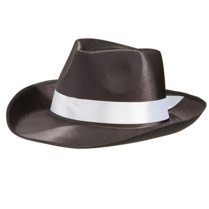 1f2676b930377 ... Black Trilby Gangster Hat - Fedora Hats - Men s Gangster Fancy Dress  Costume Accessories ...