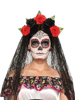 Day of the Dead Headband Veil
