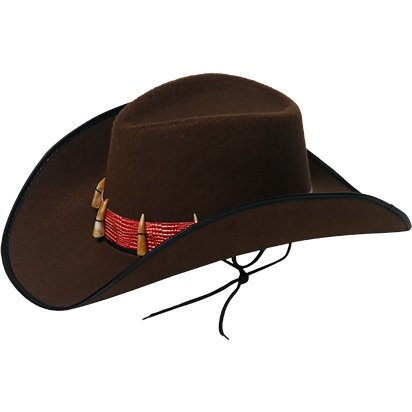 Black Cowboy Hat with Teeth - Australian Hat - Men's Fancy Dress Costume Accessories front