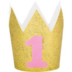 Age 1 Gold Glitter Mini Crown - 10cm